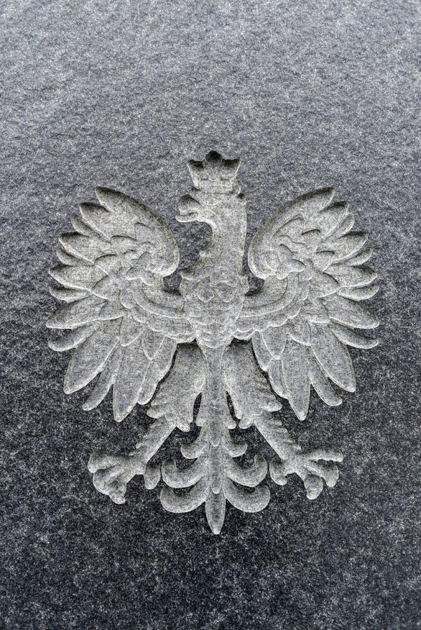 Polski orzeł rzeźbiący w marmurze Polski emblemat fotografia stock