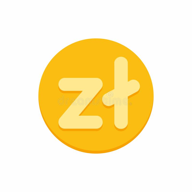 Polskt zlotyvalutasymbol på guld- mynt royaltyfri illustrationer