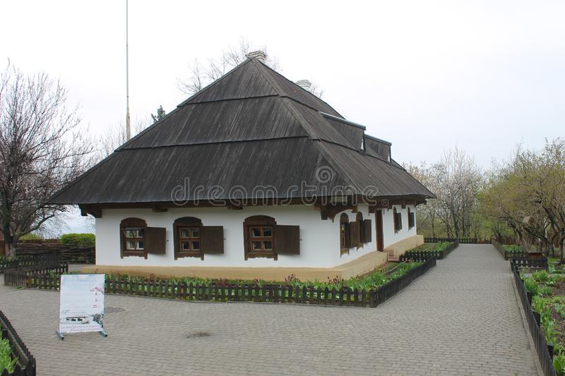 Ethnographic museum in Poltava, Ukraine. Traditional old ukrainian house. Poltava, Ukraine - April 10, 2014. Ethnographic museum in Poltava, Ukraine stock photo