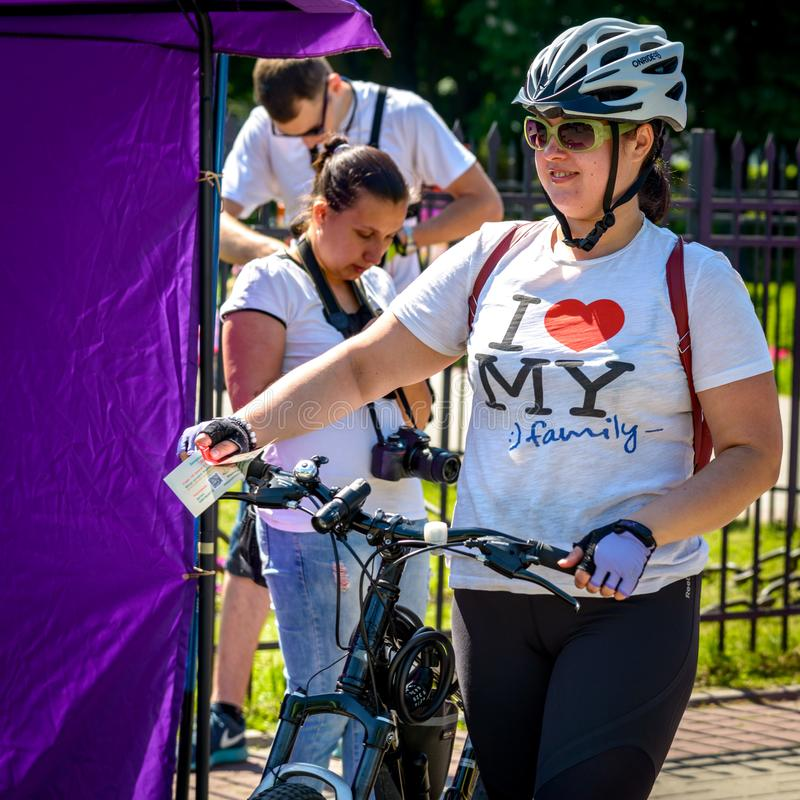 Locals participate in the charity cycle. POLTAVA, UKRAINE - MAY 18, 2019: Locals participate in the charity cycle `Good deeds pedaling`. Action `Heart to Heart royalty free stock images