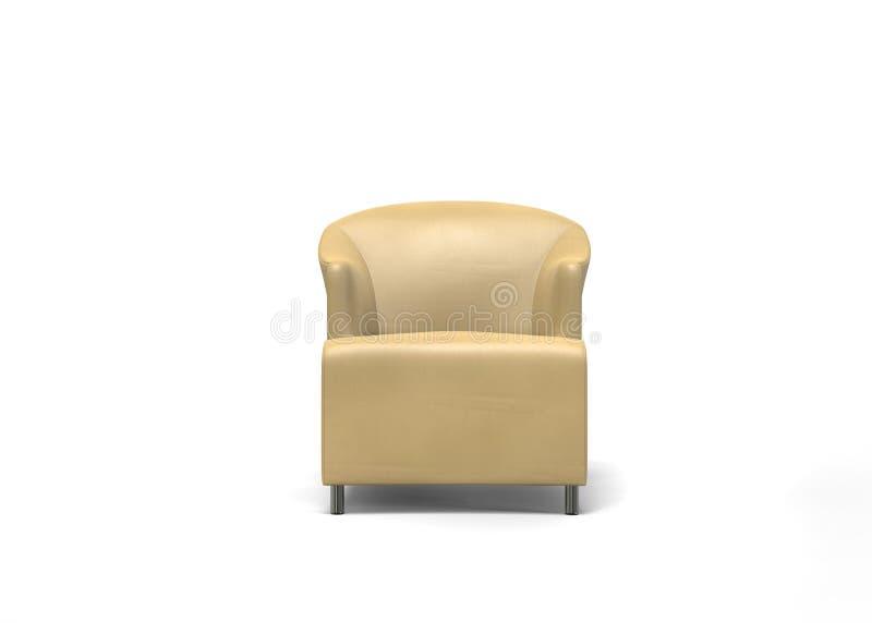 Poltrona beige della pelle scamosciato - vista frontale royalty illustrazione gratis