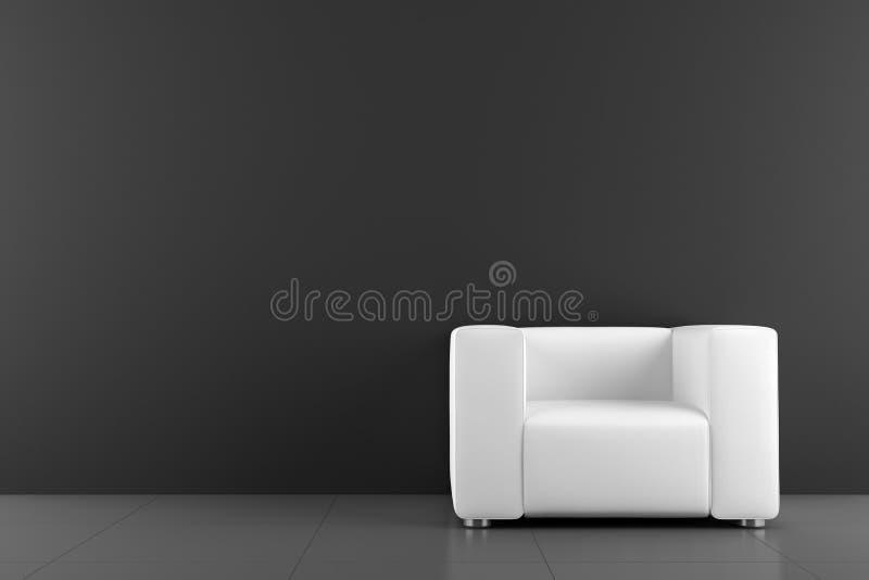 Poltrona bianca davanti alla parete nera immagini stock