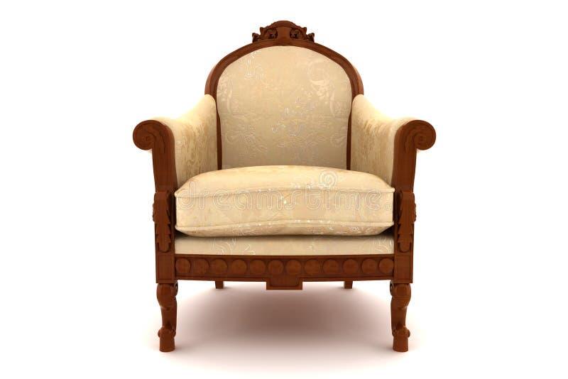 Poltrona clássica bege isolada no branco fotografia de stock royalty free