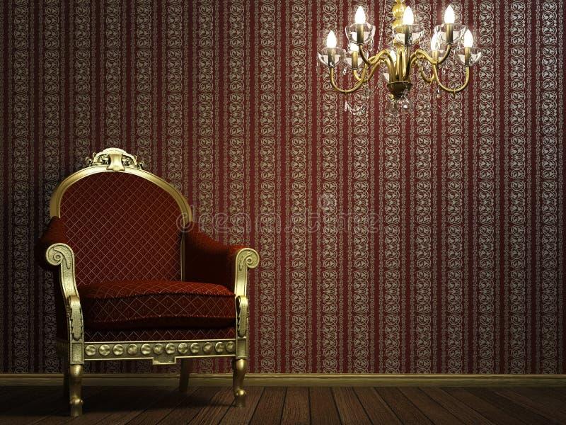 Poltrona clássica com lâmpada e detalhes dourados ilustração royalty free