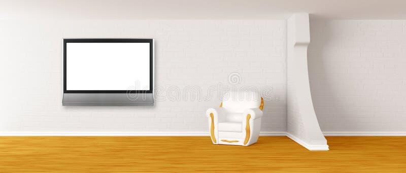 Poltrona com a tevê do lcd no interior moderno ilustração do vetor