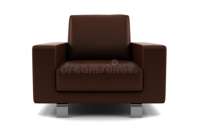 Poltrona de Brown isolada no fundo branco imagens de stock royalty free