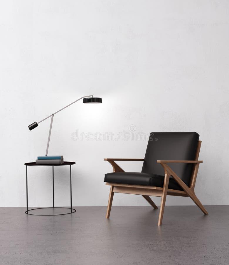 Poltrona de couro elegante com uma tabela lateral imagens de stock royalty free