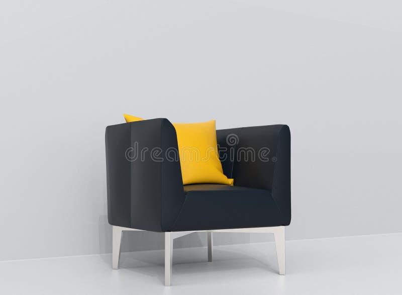 Poltrona di cuoio blu scuro con il cuscino giallo royalty illustrazione gratis
