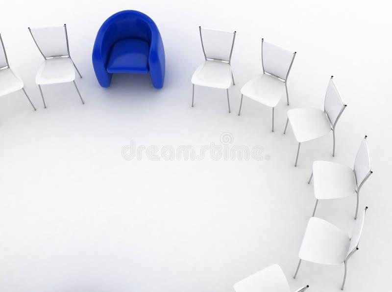 A poltrona do chefe e do grupo de cadeiras está ilustração do vetor