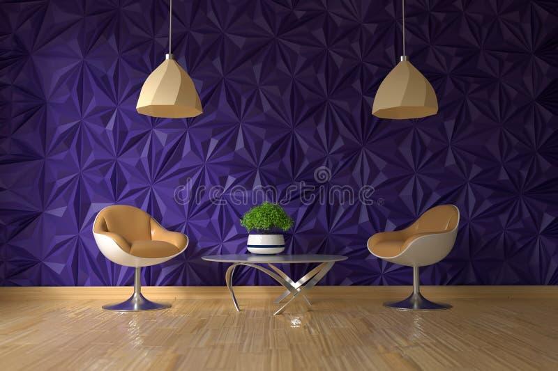 Poltrona dois e tabela de vidro com a planta verde na parede violeta textured vazia no interior da sala de visitas ilustração do vetor