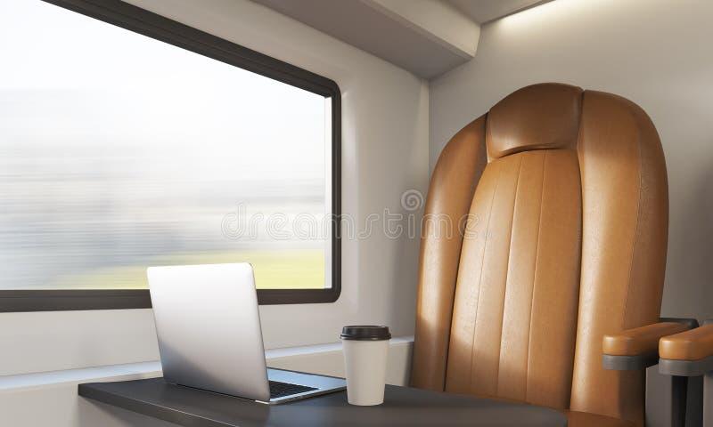 Poltrona e portátil de Brown no compartimento do trem ilustração do vetor