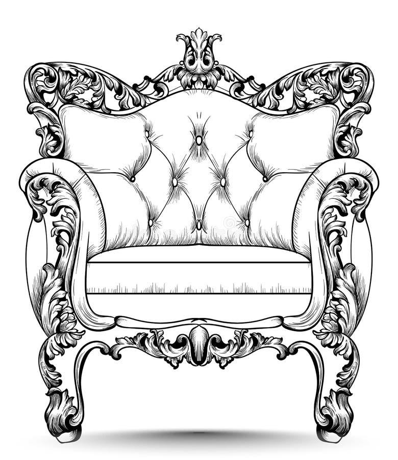 Poltrona luxuosa barroco Mobília com a decoração ornamented vitoriano Projetos realísticos do vetor ilustração stock