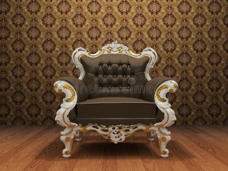 Poltrona luxuoso de couro no interior denominado velho ilustração stock