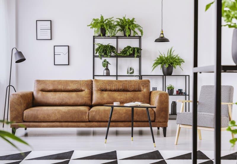 Poltrona modelada ao lado do sofá de couro marrom no interior branco da sala de visitas foto de stock