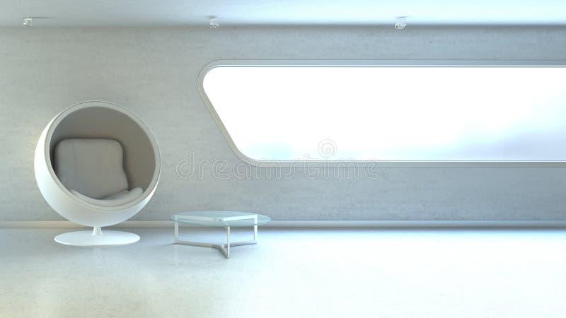 Poltrona moderna bianca in interrior illustrazione vettoriale