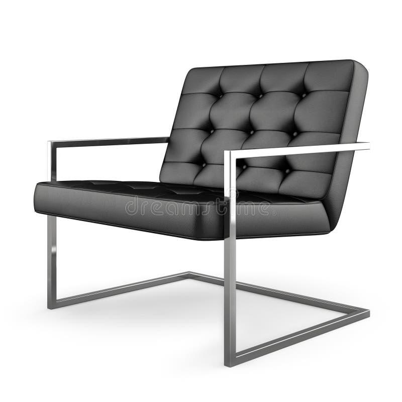 Poltrona moderna nera isolata sulla rappresentazione bianca del fondo 3D illustrazione di stock