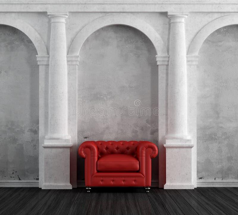 Poltrona rossa in una casa classica di lusso illustrazione for Una storia piani di casa di lusso