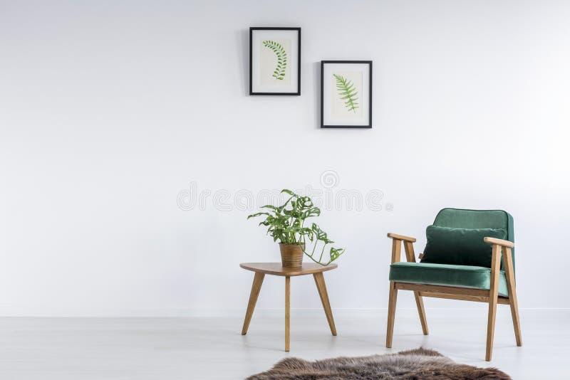 Poltrona verde nella sala immagini stock libere da diritti