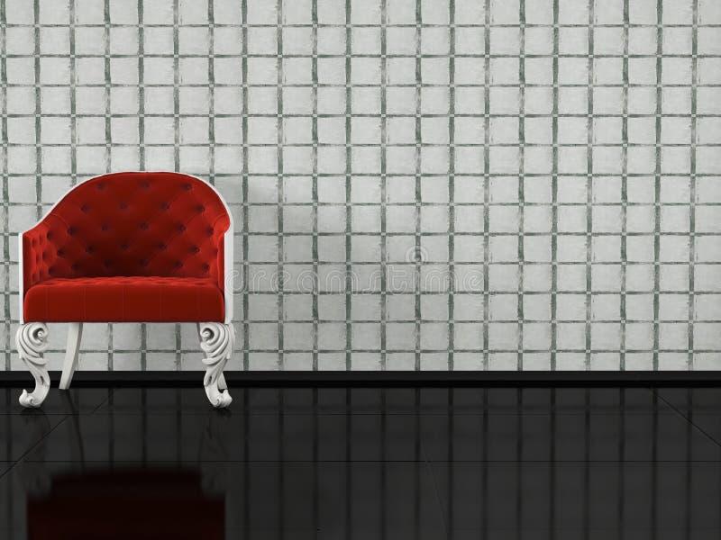 Poltrona vermelha clássica interna ilustração stock