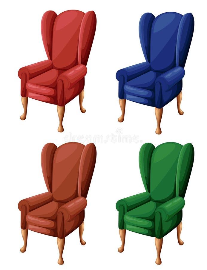 A poltrona vermelha do vintage do marrom azul e do verde no estilo liso preside o ícone para sua ilustração do projeto isolada no ilustração stock