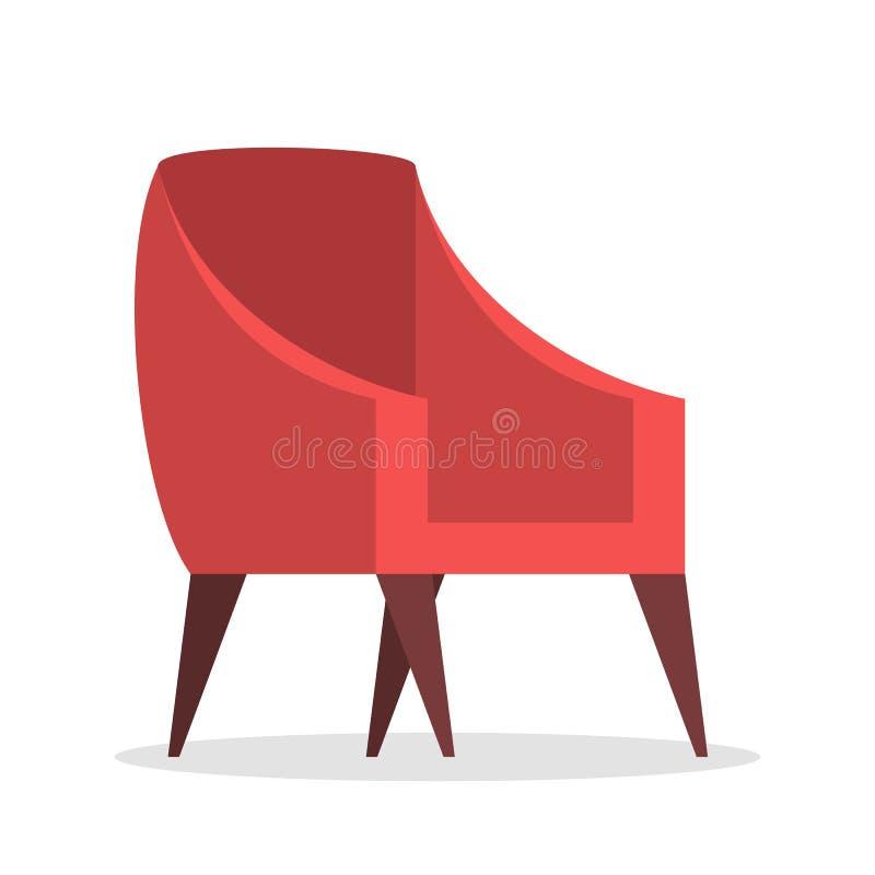 Poltrona vermelha Mobília confortável, elemento do interior moderno ilustração stock