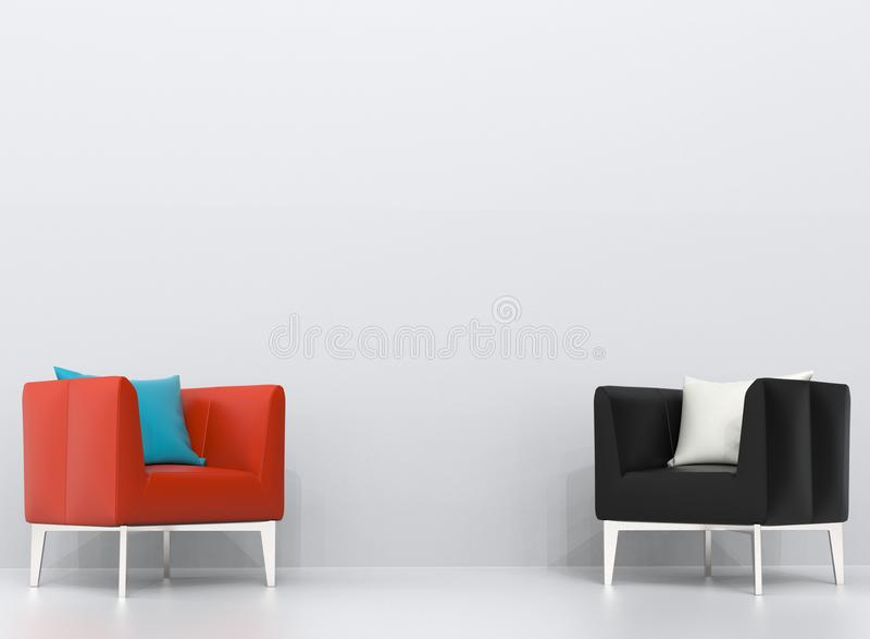 Poltronas de couro pretas e alaranjadas na sala de visitas branca ilustração stock