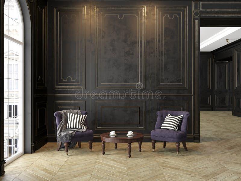 Poltronas e mesa de centro no interior clássico do preto-ouro ilustração royalty free