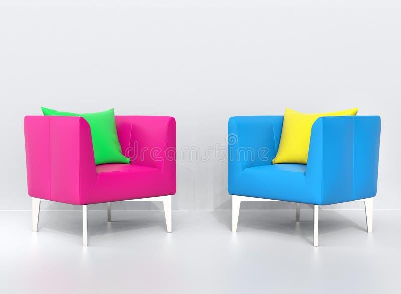 Poltrone rosa e blu con i cuscini verdi e gialli illustrazione di stock