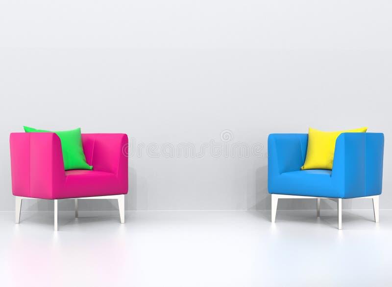 Poltrone rosa e blu con i cuscini verdi e gialli nel salone illustrazione vettoriale