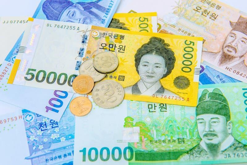 Poludniowo-koreańska Wygrywająca waluta zdjęcia stock