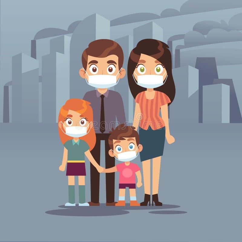 Poluição atmosférica da cidade da família Da poluição atmosférica protetora do ar da poluição das máscaraes protetoras dos povos  ilustração stock