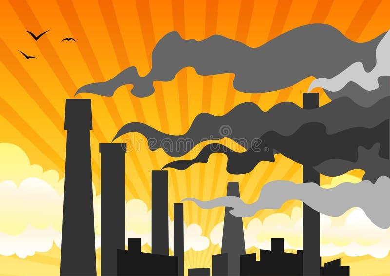 Poluição atmosférica industrial pesada ilustração do vetor