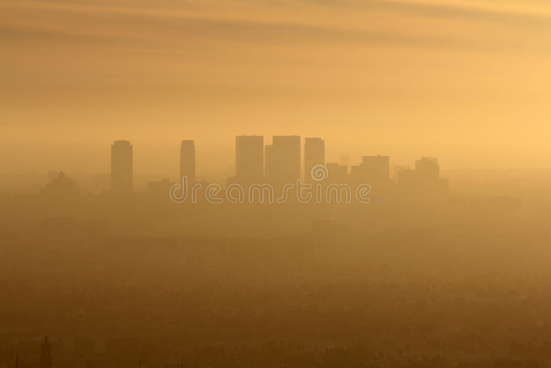 Poluição atmosférica ocidental do LA fotografia de stock
