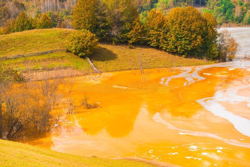 A poluição de água com ferro e a mina residual do tanoeiro minam, Romênia fotos de stock