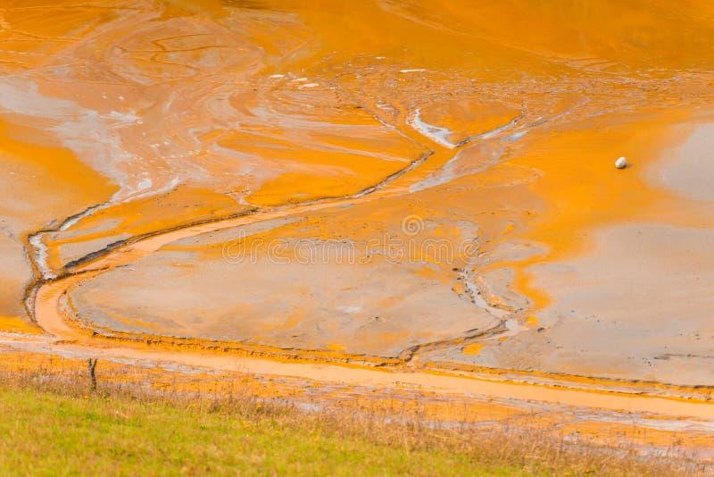 A poluição de água com ferro e a mina residual do tanoeiro minam, Romênia fotografia de stock