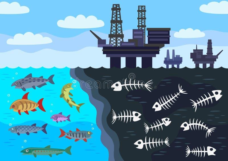 Poluição de água do mar pelo óleo ilustração stock