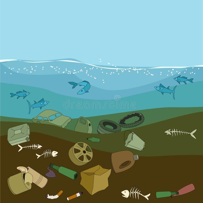 Poluição de água no oceano Lixo, desperdício ilustração royalty free