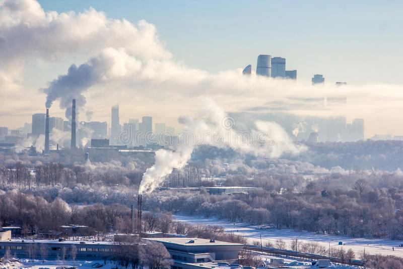 Poluição de Moscou imagem de stock