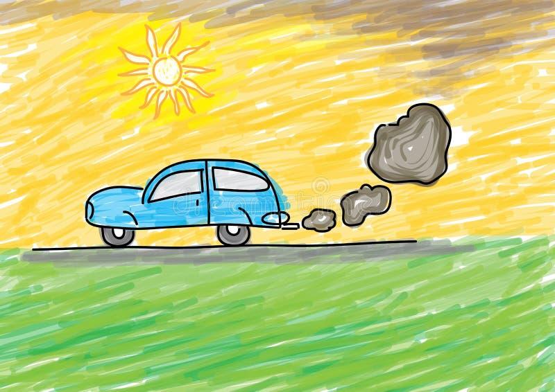 poluição Desenhar dos miúdos ilustração royalty free