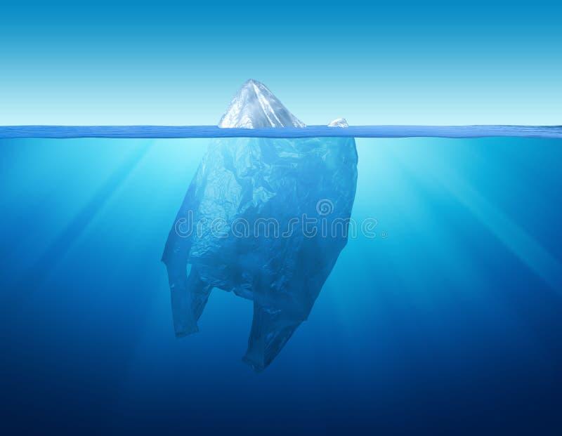 Poluição do ambiente do saco de plástico com iceberg imagens de stock royalty free