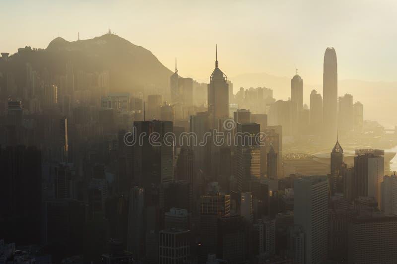 Poluição do ar sobre a ilha de Hong Kong imagem de stock royalty free
