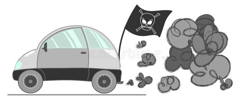Poluição do carro ilustração do vetor