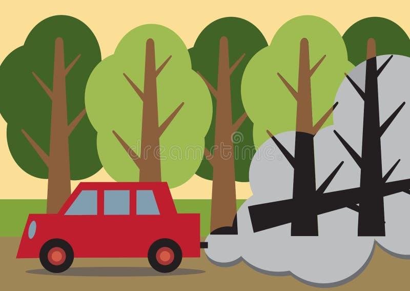 Poluição do combustível fóssil ilustração do vetor