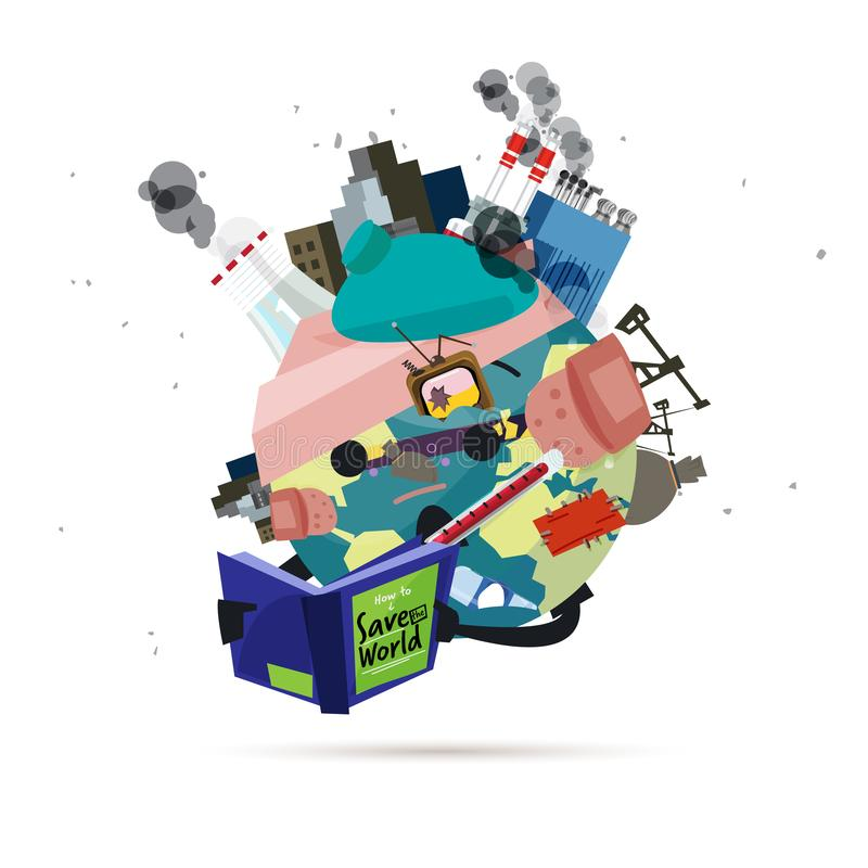 Poluição e livro de leitura doente do mundo 'como salvar o vetor do mundo '- ilustração do vetor