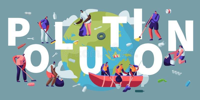 Poluição, reciclando, conceito da ecologia Povos que removem o lixo da superfície da Terra de limpeza do planeta com os ancinhos  ilustração royalty free