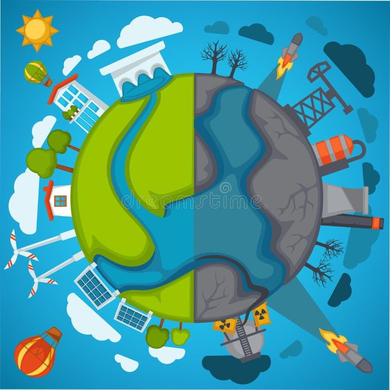 A poluição verde do planeta e do ambiente do eco vector o cartaz para o conceito da proteção de natureza das economias ilustração stock