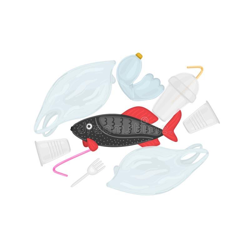 Polui??o pl?stica do oceano da parada O peixe nada entre o lixo Vida marinha sob a ameaça Desperd?cio na ?gua ilustração stock