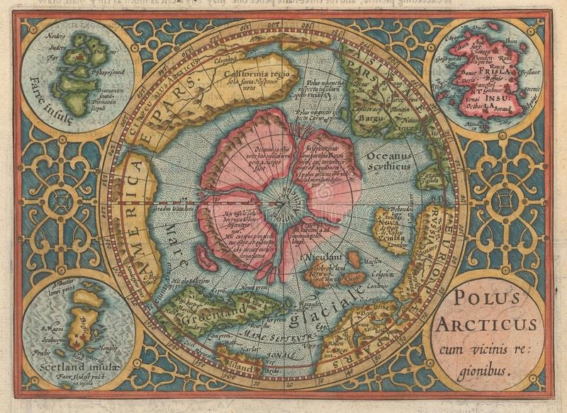 1625 Polus Arcticus cum vicinus regionibus. This intriguing and beautiful Polar Projection is the result of a joint effort undertaken by Samuel Purchas and stock photo