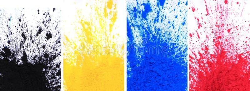 Polvere di toner di Cmyk & x28; ciano, magenta, giallo, black& x29; immagine stock