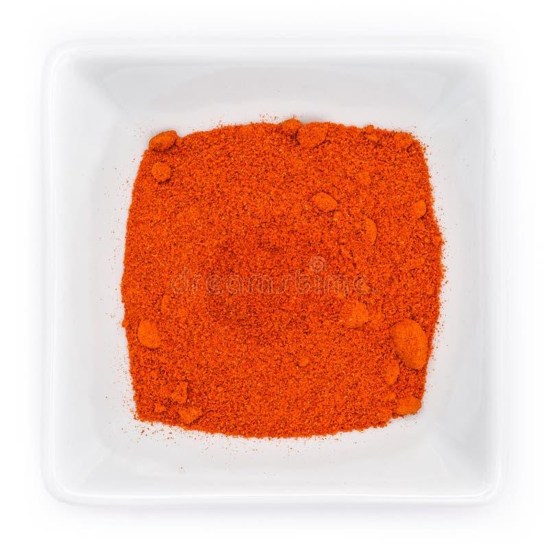 Polvere rossa ungherese della paprica in una ciotola fotografie stock libere da diritti